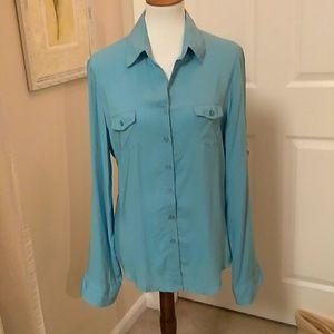 Velvet Heart, XL, blue, rayon blouse.